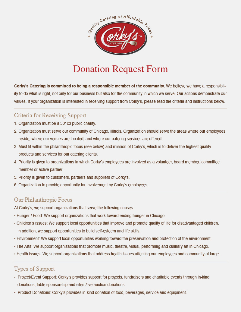 Corky's Catering - Donation Request Form
